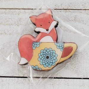 Happy Fox in a Blue Floral Teacup Wooden Brooch